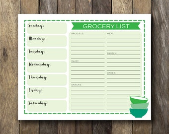 Printable Grocery List - Instant Download Meal Planner - Green Kitchen Art