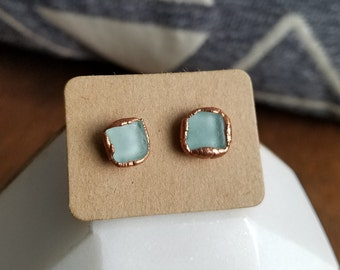 Light Blue Beach Glass and Electroformed Copper Earrings