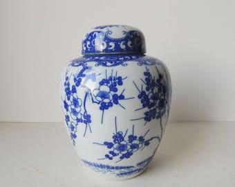 Japanese Porcelain Jar with Lid White and Blue Blossom