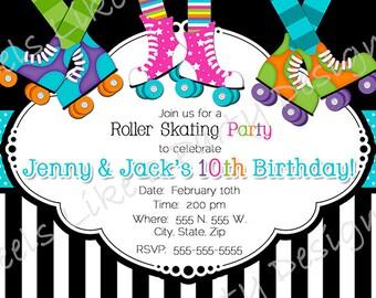 Custom Boy and Girl Roller Skating Party Invite