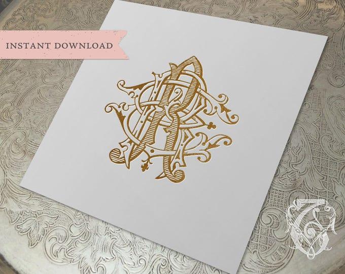 3 Initial Vintage Monogram ERR Three Letter Wedding Monogram Digital Download R E RR