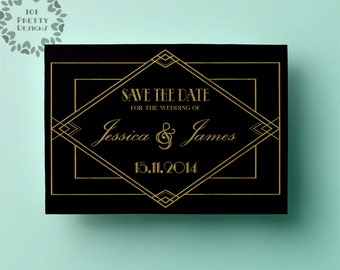 art deco save the date template printable save the date