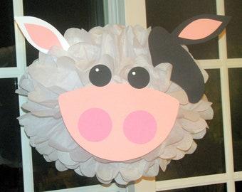 Cow tissue paper pompom kit Old MacDonald farm party