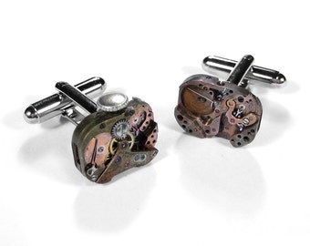 Mens Cufflinks Nihilist Post Apocalyptic, Steampunk Vintage Watches INDUSTRIAL Mens Cuff Links Holiday Gift For Men - Jewelry by edmdesigns