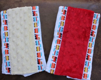Set of 2 Matching Burp Cloths with Dimple Dot Minky and Train Ribbon edging