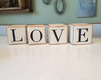 Love/Hope reversible block sign