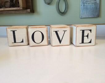 Love/Hope reversible block sign