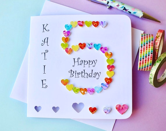 5th birthday card custom personalised age 5 card handmade like this item bookmarktalkfo Image collections