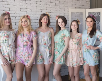 Pastel Dreamy Angel Song Pattern - Mismatched Rompers By Silkandmore - Alternative to Bridesmaids Robes, Bridesmaids Rompers, Gifts