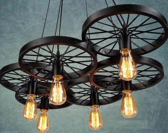 Light fixture etsy 6 wheels pendant light industrial light for bar pendant lighting retro light fixture rustic lighting entryway aloadofball Gallery