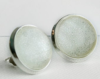 Snow Globe Post Earrings in Silver - Glittery Snow White and Silver Stud Earrings
