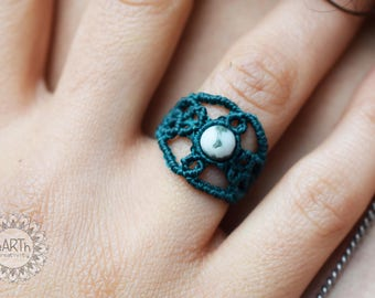Micromacramè ring with natural stone-Micromacramè ring with natural stone