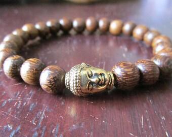 Gold Buddha and Cacao Wood Bracelet, Stacking Bracelet, Mens Beaded Bracelet, Mens Jewelry, Yoga Bracelet, Stretch Layering Bracelet