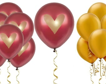 "Burgundy Gold Heart Balloons Love 12"" Latex Wedding Proposal Renewal Bridal Shower Party Bachelorette Anniversary Party Maroon Dark Red"