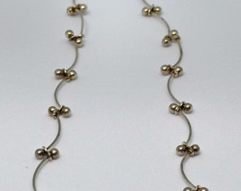 Trendy Sterling Silver Curved Barbell Linked Necklace