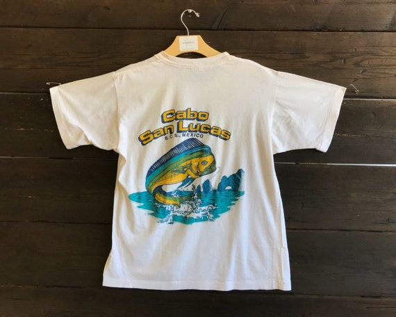 The Vintage 50/50 Maroon Red Cabo San Lucas Mexican Tshirt Tee v9d0rzJf2p