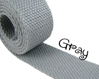 """Cotton Webbing - Gray - 1.25"""" Medium Heavy Weight for Key Fobs, Purse Straps, Belting - SEE COUPON"""