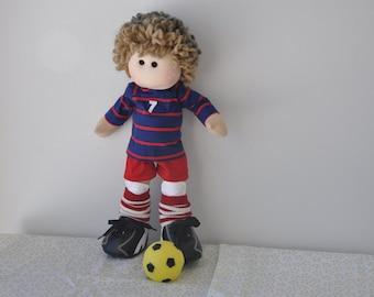 Doll/16 inch OOAK cloth doll,tilda,waldorf,rag inspired doll,soccer/footballer doll
