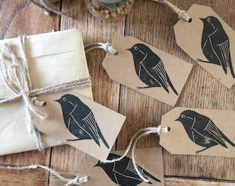 Handmade & hand printed bird gift tags