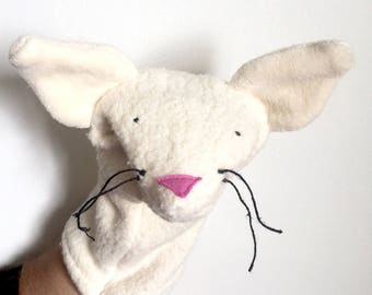 Organic Hand Puppet Kitty Cat Natural Feline Gift Baby Animal Toy