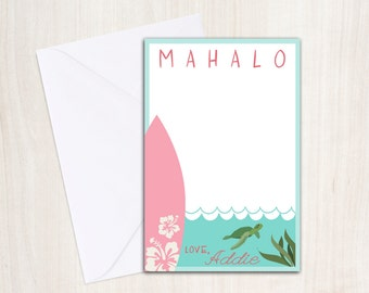 Luau Surf Thank You Note - Pool party thank you- Surf Party - Beach Party - party supplies