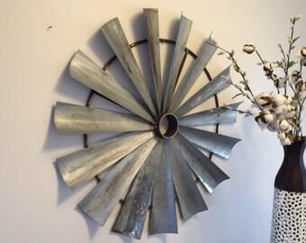 """32"""" Diameter Metal windmill wall decor"""