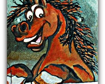 Horse paintings | horse decor | horse art | horse wall art | horse lover | horse gift | paintings of horses on slate | whimsical horse decor