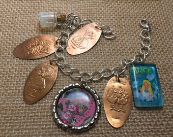 Alice in Wonderland Pressed Penny Disneyland Charm Bracelet