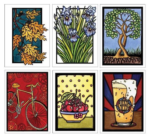 Best Seller Collection #2 - 6 Blank Greeting Cards - Oak Leaves, Iris, Tree, Bicycle, Cherries, Beer