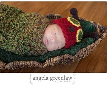 PRE-ORDER Newborn Baby Hungry Caterpillar Hat, Cocoon, Photography Prop