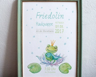 "personalised birth poster ""Tadpole"""
