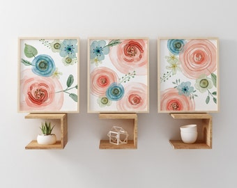 Flower Nursery Art Prints Watercolor Style, Nursery Art Pink Girl, Baby Watercolor Flower Nursery Art, Woodland Flowers Pink Nursery Wall