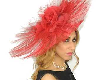 Red Very Large Angels Burnt Ostrich Feathers Fascinator Hat for Weddings, Kentucky Derby With Headband (8 colours)