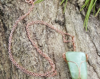 Nephrite copper wire wrapped necklace