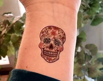 sugar skull temporary tattoo day of the dead tattoo