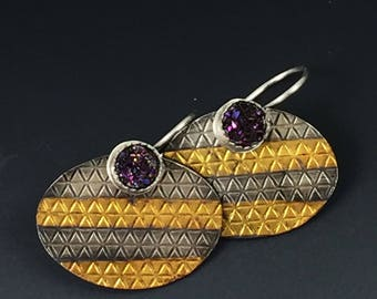 Gold and Silver Earrings with Purple Druzy and Striped Keum Boo