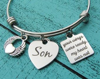 loss of Son memorial gift, remembrance gift, your wings were ready bracelet, in loving memory of Son, sympathy gift loss of loved one Son