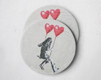 Banksy Drink Coasters – Absorbent Coaster Set of 10 – Coasters for Women & Men – Heavyweight Reusable Thick Pulpboard - Heart Swing