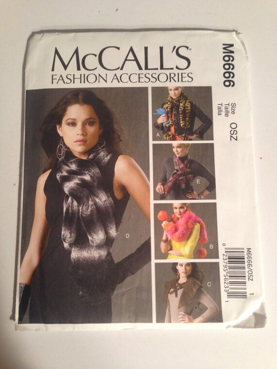 McCall's Sewing Pattern Fashion Accessories Sewing Pattern 6666 UNCUT 2012 Misses Neck Wraps