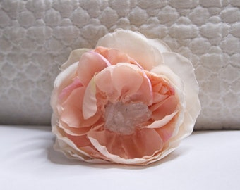 Pink Peony and Quartz Hair Flower with Raw Natural Quartz Crystal // Luxury High-End Headpiece for Women // Quality Headdress // Hair Clip