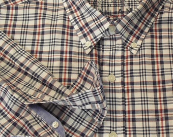 Vintage 1990's check plaid blue and red on white mens shirt by Boggi Milano