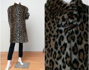 Animal Print Coat | Faux Fur Coat | Vegan Fur Coat |Leopard Print Coat | 90s Animal Print Coat | Vintage Coat | Leopard Print |Cheetah Print