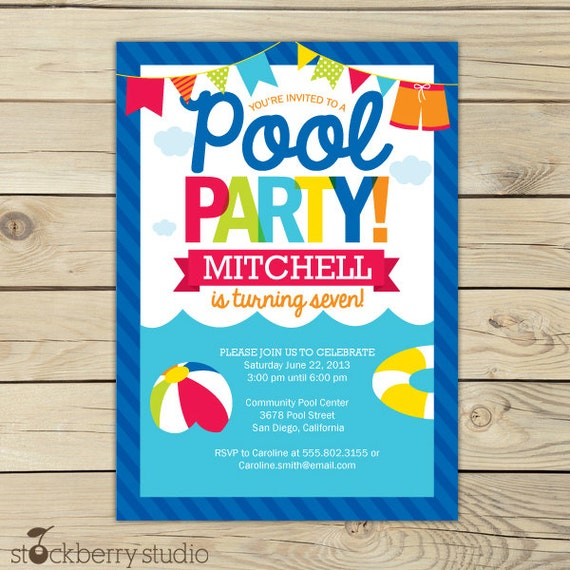 Pool Party Birthday Invitation Printable Pool Party Beach