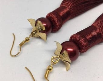 Gigi - Maroon Tassel Earing//Maroon Glass Pearl//Silk Earings//Dangle Earings//Valentines Gift//Gothic Style//Boho Syle//Handcrafted Earings