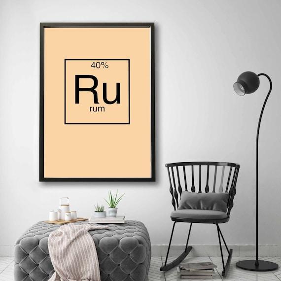 Rum periodic table element wall decor design modern motto