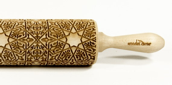 Alhambra 6, BIG Rolling Pin, Engraved Rolling, Rolling Pin, Embossed rolling pin, Wooden Rolling pin