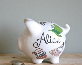 Personalized Piggy Bank for Children - Alice in Wonderland