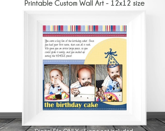 Birthday Printable Wall Art, Custom Digital Wall Art, Birthday Scrapbook Page, Birthday Wall Art, Custom Digital Design, YOU PRINT, 12x12