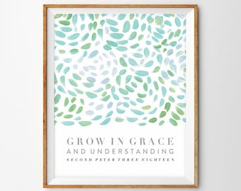Abstract Floral Brush Stroke Scripture Print - Grow in Grace and Understanding (2 Peter 3:18)