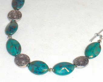 Irridescent Blue Green Czech Glass Lozenges and Silver Bracelet